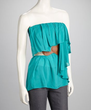 Green Ruffle Belted Strapless Top