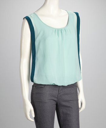 Mint & Aqua Scoop Neck Keyhole Top