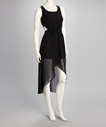 Black Crisscross Back Tied Hi-Low Dress