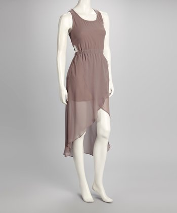 Taupe Crisscross Back Tied Hi-Low Dress