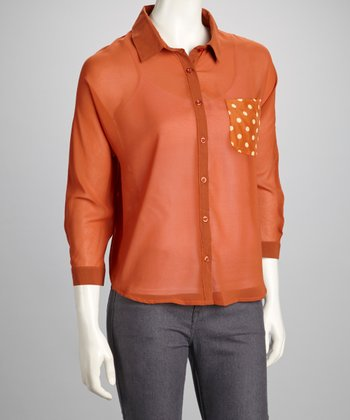 Rust Polka Dot Button-Up Top