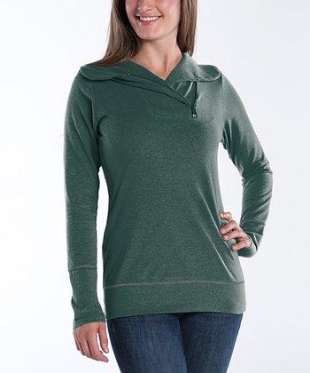 lur® Moss Zip-Collar Camellia Sweater - Women