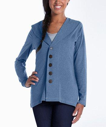 lur® Chambray Blue Shawl Collar Cardigan - Women