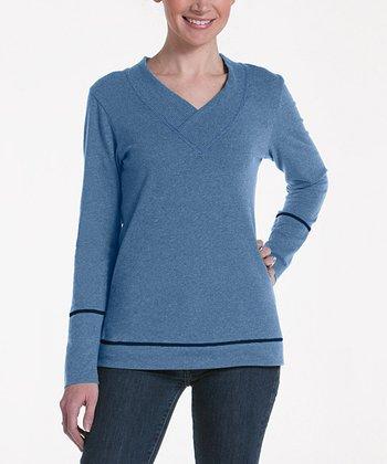 lur® Chambray Blue Honeysuckle V-Neck Sweater - Women