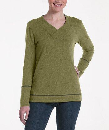 lur® Olive Honeysuckle V-Neck Sweater - Women