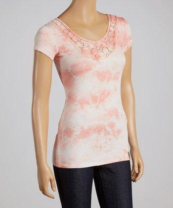 Coral Tie-Dye Short-Sleeve Top