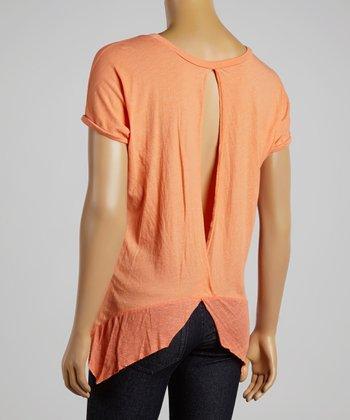 Orange Pleated Sidetail Top
