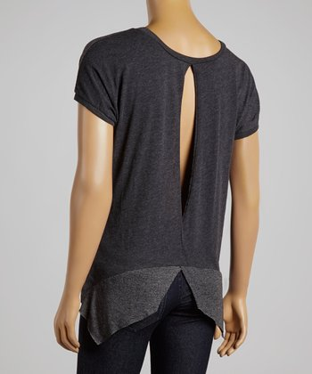 Charcoal Pleated Sidetail Top