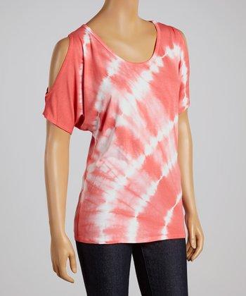 Coral Tie-Dye Cutout Top