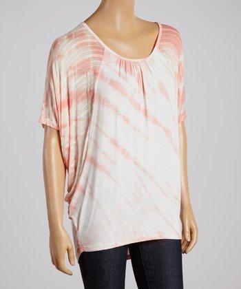 Peach Tie-Dye Cape-Sleeve Top