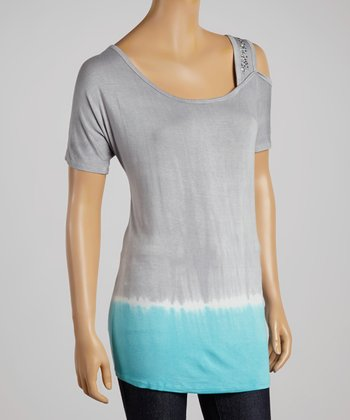 Light Blue & Gray Cutout Scoop Neck Top