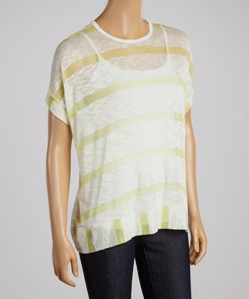 Lime Stripe Sheer Top