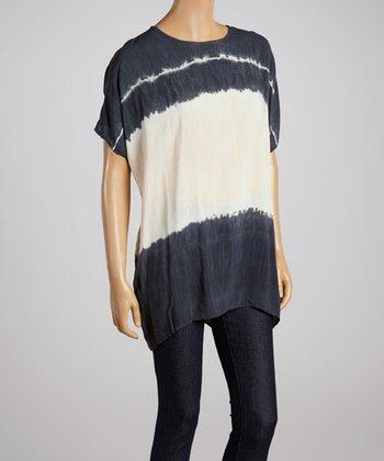 Charcoal & Beige Tie-Dye Top