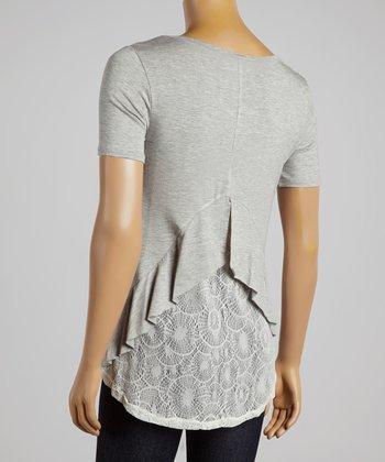 Gray Lace V-Neck Top