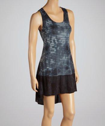 Charcoal & Black Stripe Tie-Dye Dress
