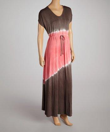Brown & Coral Tie-Die Drawstring Maxi Dress