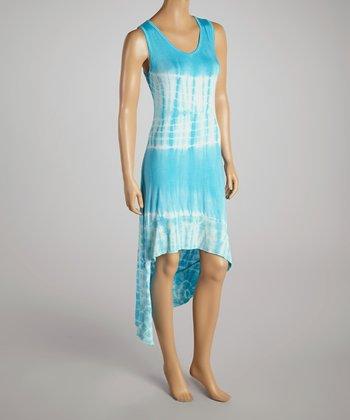 Light Blue Tie-Dye V-Neck Dress