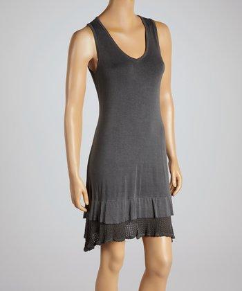 Charcoal Ruffle V-Neck Dress