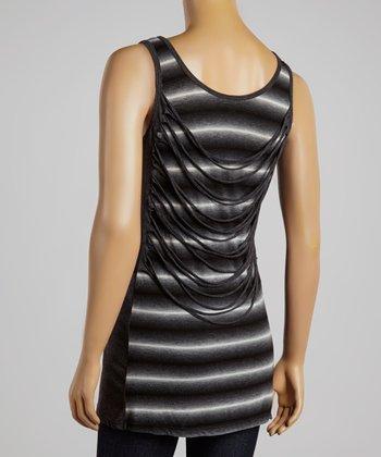 Black Stripe Lattice-Back Top