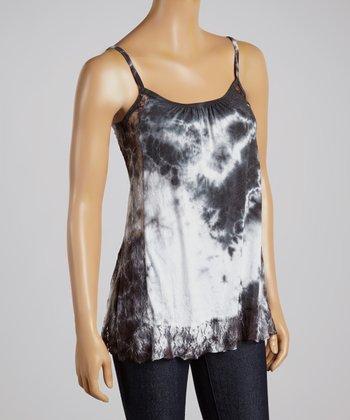 Black & White Lace Tie-Dye Top