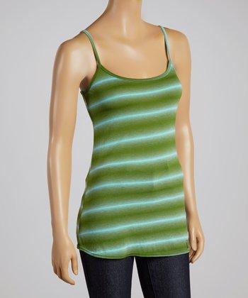 Green & Blue Stripe Tie-Dye Camisole