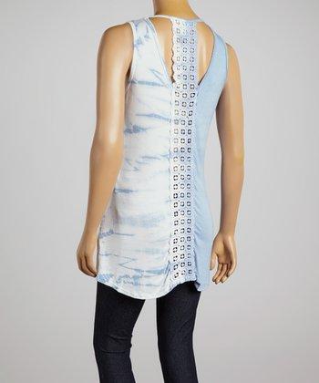 Light Blue Crocheted-Back Tie-Dye Top