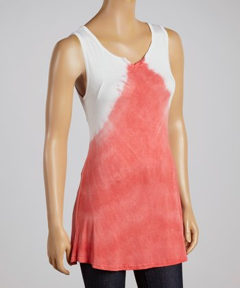 Red & White Tie-Dye Top