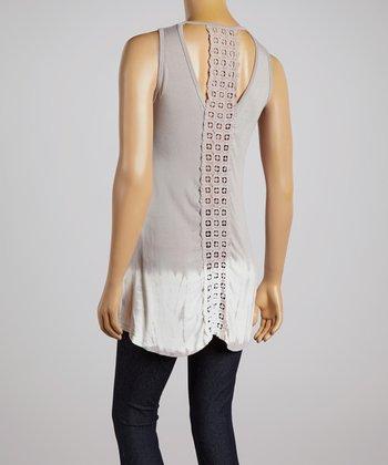 Gray Tie-Dye Crocheted-Back Top