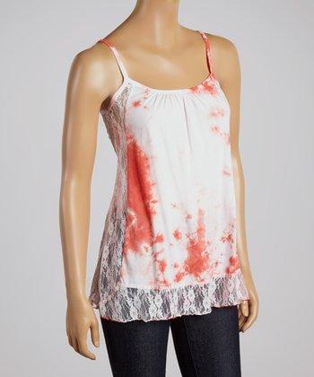 Coral Lace Tie-Dye Top