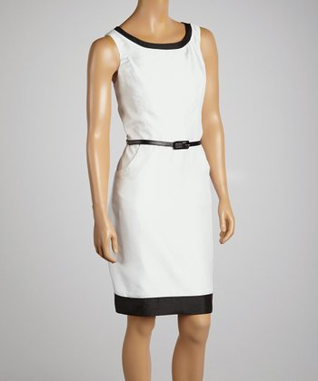 White & Black Belted Sheath Dress