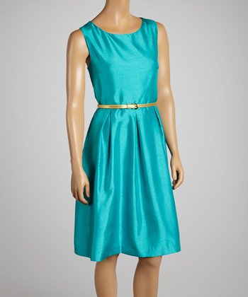 Emerald Pleated Belted Scoop Neck Dress