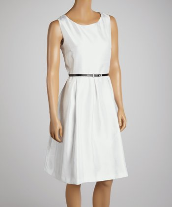 White Pleated Belted Scoop Neck Dress