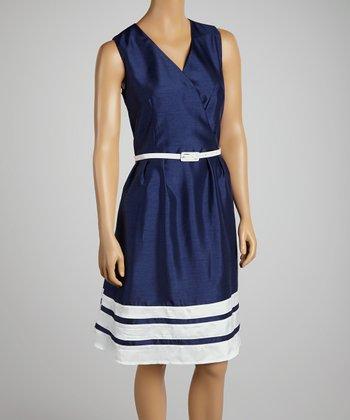 Blue & White Belted Stripe Surplice Dress