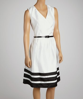 White & Black Belted Stripe Surplice Dress