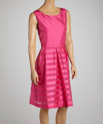Hot Pink Stripe A-Line Dress