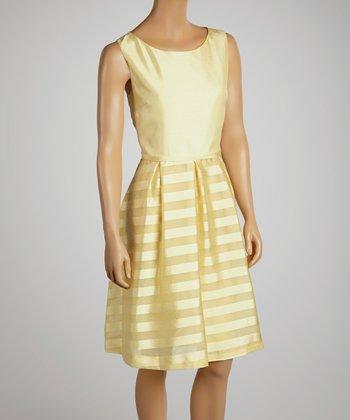 Lemon Drop Stripe A-Line Dress