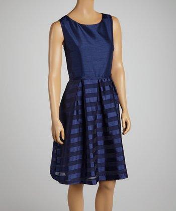 Deep Blue Stripe A-Line Dress