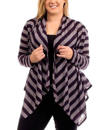 Purple Stripe Open Cardigan - Plus