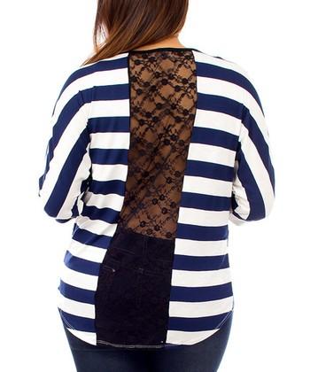 Navy & Off-White Stripe Lace-Back Dolman Top - Plus - Plus