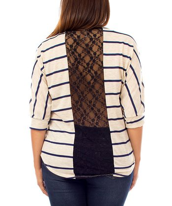 Oatmeal Stripe Lace-Back Dolman Top - Plus - Plus