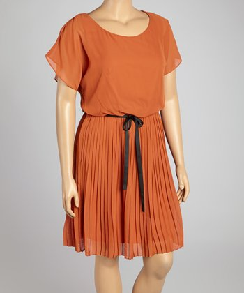Rust Accordion Blouson Dress - Plus