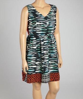 Green & Coral Sleeveless Dress - Plus