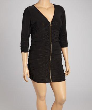 Black Ruched Three-Quarter Sleeve Dress - Plus