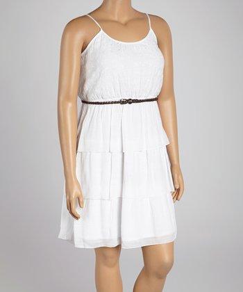 White Tier Belted Blouson Dress - Plus
