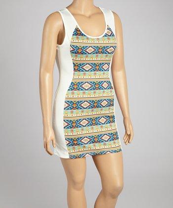 White Tribal Sheath Dress - Plus