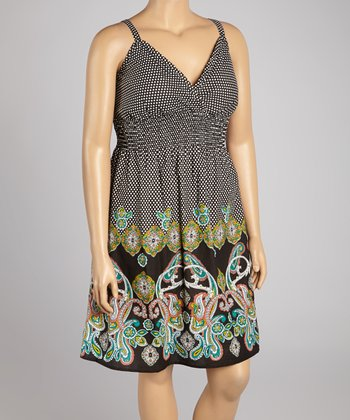 Black Paisley Pin Dot Dress - Plus