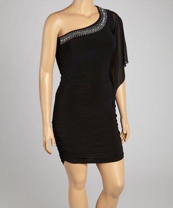 Black Embellished Asymmetrical Dress - Plus