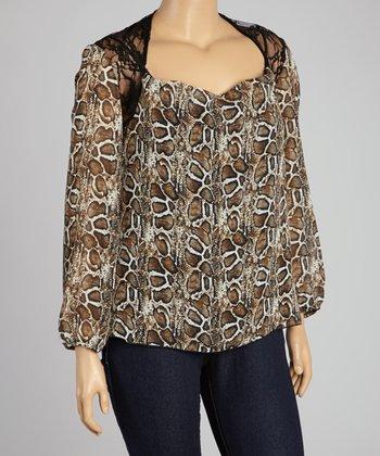 Light Leopard Lace Scoop Neck Top - Plus