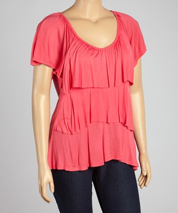 Coral Tier Cape-Sleeve Top - Plus