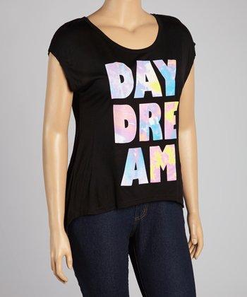 Black 'Daydream' Scoop Neck Top - Plus